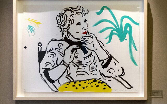 "A whimsical David Hockney lithograph, 1980 ""Celia with Green Plant,"" graces a back hallway."