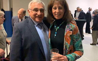 Lee and Arlene Katz at a pre-service reception in Lee's honor at Temple Emanu-El.