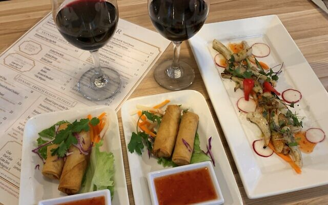 Egg rolls are an integral Vietnamese appetizer, shown here with tofu and vegetables.