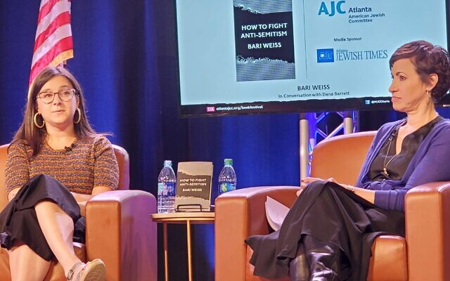 """Bari Weiss spoke about her book """"How to Fight Anti-Semitism"""" with media personality Dana Barrett, who is running for Congress."""