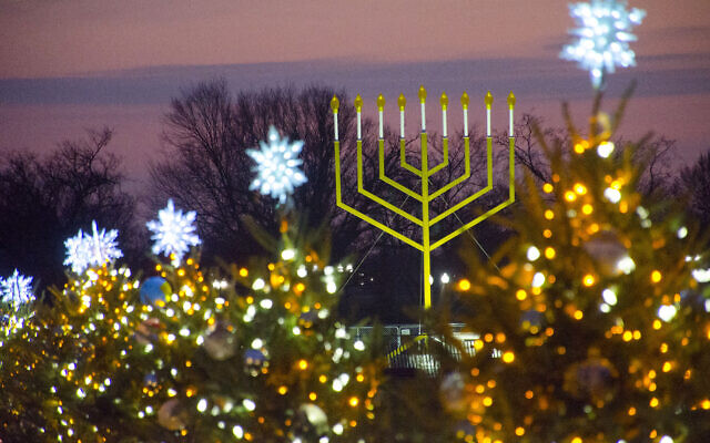 Photo by Tim Brown //  The Supreme Court has ruled that displaying the chanukiyah or menorah alongside other secular holiday symbols, as pictured here, is constitutional.