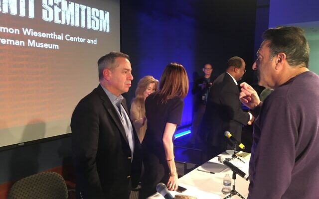 Following the evening program, audience members were encouraged to discuss anti-Semitism with the three panel members.