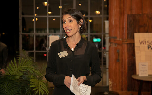 Jori Mendel, vice president of innovation at the Jewish Federation of Greater Atlanta, greeted the crowd at Wisdom Pairings Nov. 20.