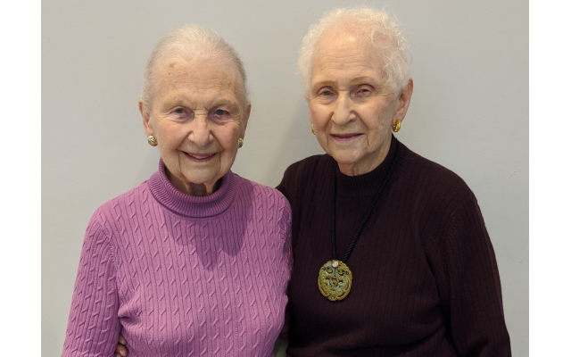 Younger sister Rita Marokko, right, 94, was instrumental in planning the 101st party for sister Teddy, left.