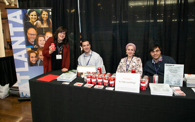 "Photo by Zush Photography // Atlantans in New York for the Orthodox Union's home and job relocation fair were"" Hannah Fleshel, Josh Joel, Amy Solomon and Ethan Solomon."