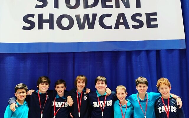 Student Presenters: Avi Nebel, Jake Barras, Adam Ress, Micah Kopelman, Zach Rindsberg, Adam Greenstein, Drew Kaufman and Blake Cohen pose for a picture at the GaETC student showcase.