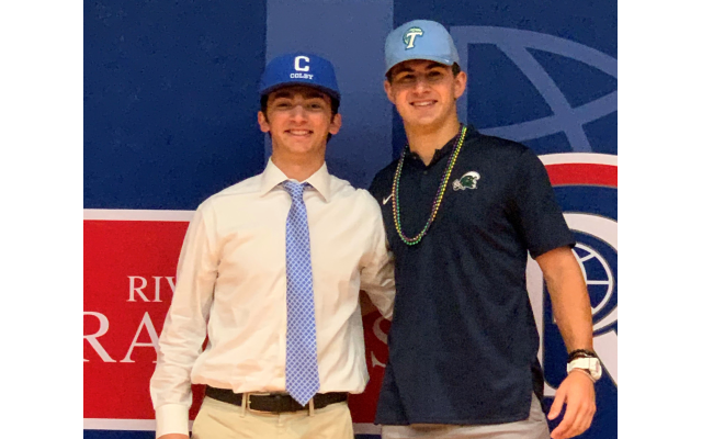 Chase Engelhard commits to playing baseball at Tulane University. Josh Peljovich commits to play baseball at Colby College.