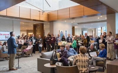 Temple Sinai completely redesigned and reconstructed the lobby area to its building to be more open and inviting.