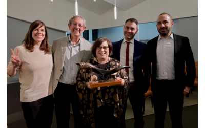 Photos by Ori Salzberg // Posing with the Robkins' Tzedek Award are Libby Lenkinski, Shai and Judy Robkin, Mickey Gitzin, and Eyal Yerushalmi.