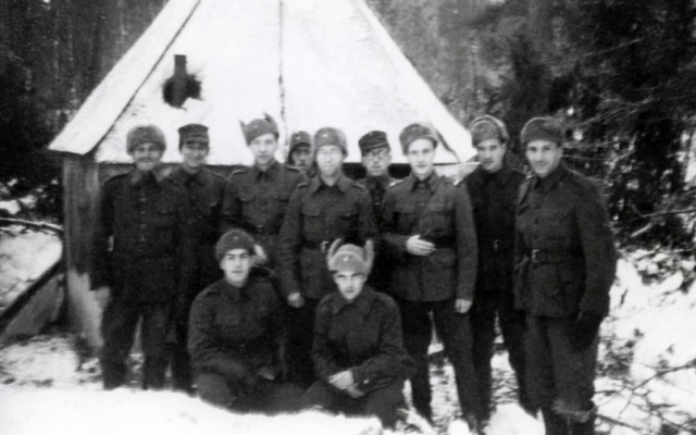 Jewish soldiers of the Finnish Army, who were allied with Nazi Germany, outside the makeshift synagogue near the front lines during World War II.