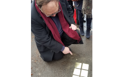 Joab Eichenberg-Eilon traveled to Germany to watch the placing of Stolpersteine for his family members.