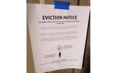 Mock eviction notice posted on Emory students' dorm room doors.