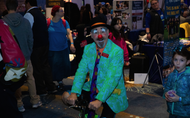Ruby the Clown is among the roving entertainers.
