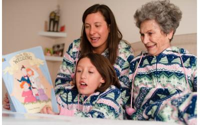 Sarah Bernstein, daughter Harper her great-grandmother Betty Garrett all love PJ Library.