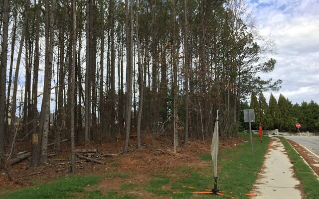 The wooded area where Chabad of Gwinnett wants to build, viewed from Crooked Creek Road.