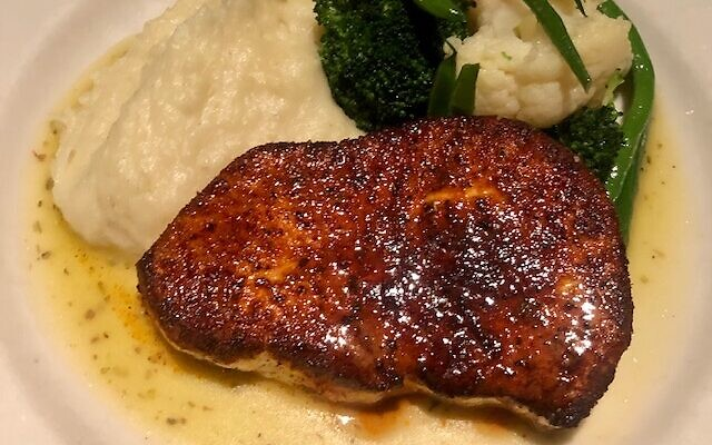 Block Island Swordfish was perfectly blackened on the outside and light and flakey on the inside, served with whipped potatoes and a vegetable medley.