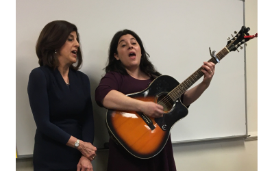 The Temple's Cantor Deborah Hartman, left, joins Elana Arian in performance at the Music as Midrash class.