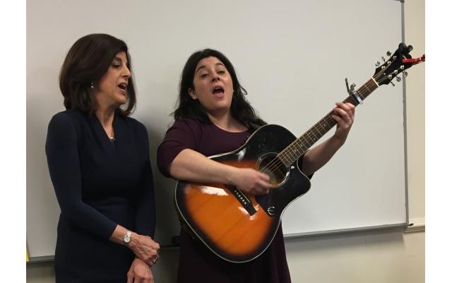 The Temple's Cantor Deborah Hartman, left, joins Elana Arian in performance at the Music as Midrash class.