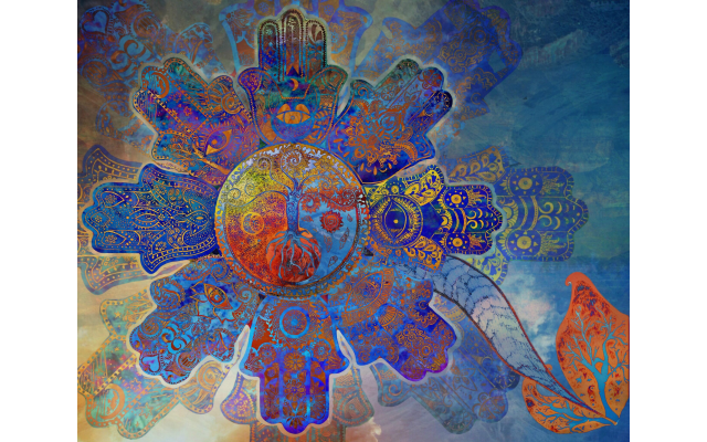 "Hannah Podhorzer's digital print ""Flower Hamsa"" incorporates Tree of Life, sun and moon symbols."