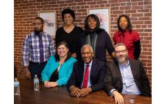 Panelists were, back row: Lamar Walker, Marla Cureto, Chinita Allen and Victoria Raggs. Front row: Leslie Anderson, Richard Rose and Rabbi Michael Bernstein.