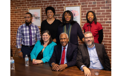Panelists were, back row: Lamar Walker, Marla Cureto, Chinita Allen and Victoria Raggs. Front row: Leslie Anderson, Richard Rose and Rabbi Michael Bernstein.