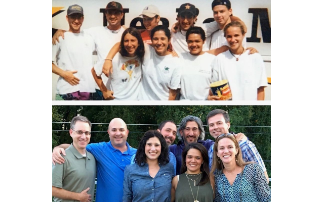 Junior-in-Training (JIT) staff in 1996 at Camp Barney and again in 2016. D'Agostino is in the back row, on the right, in both photos.