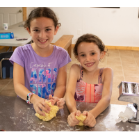 At Barney's Old City Kitchen, campers make baked goods from scratch using fresh ingredients, some grown or ground on site.
