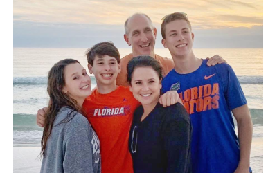 Pictured here is the Rubin family. Philip and Amy Rubin met at camp as counselors when the Marcus JCC's Camp Isidore Alterman was called Camp AJECOMCE.