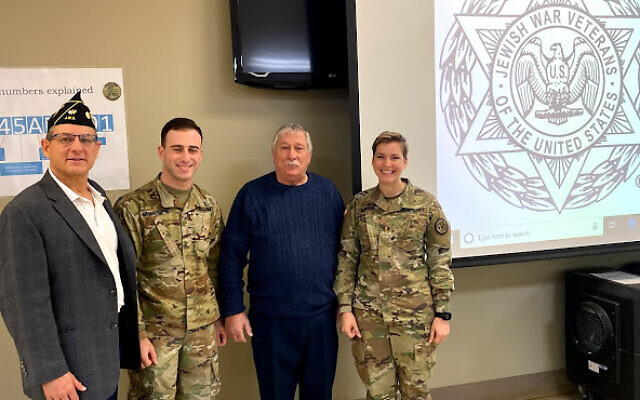 Attending a Jewish service at Fort Benning Dec. 15 were Robert Max, Southeast regional commander of the Jewish War Veterans; Army 2nd Lt. Doug Mendelsohn; retired Navy officer Neil Block, and 1st Lt. Anna Menser.