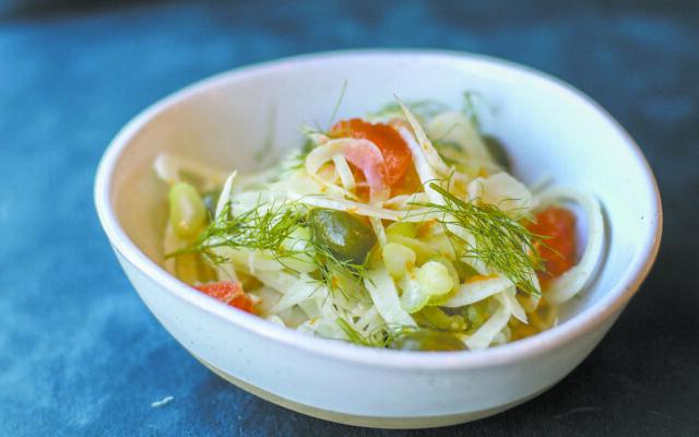 Fennel salad with olives, parmesan and orange