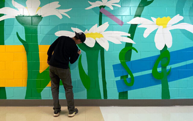 "The first of Podber's new series of murals for Epstein features oversized flowers inspired by ""Honey I Shrunk the Kids."""