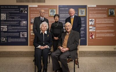 Photos by Duane Stork // Holocaust survivors and liberators honored in the new exhibit were, back row, Fred Schneider, Manuela Mendels Bornstein and Murray Lynn; front row: Tosia Schneider and Henry Birnbrey