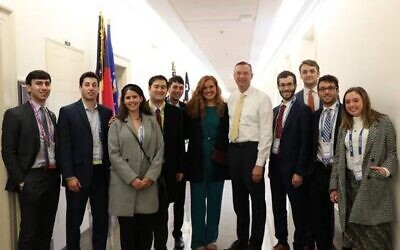 Meeting with Rep. Doug Collins are Lior Granath, Gregory Fish, Emma Rinzler, Brett Feldman, Nadav Ribak, Savannah Simpson, Alex Blecker, Will Vermeulen, Perry Fried and JoJo Rinzler.
