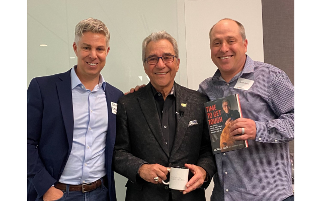 Michael Coles, center, shared his bumpy road to success with JNA networkers David Liniado and Jason Smith. Liniado came as a guest of JNA member Smith.