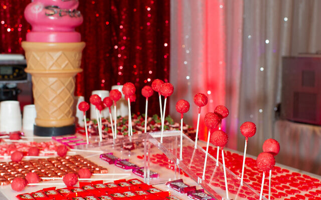 Dessert display was a super-stylized red and black dessert, candy bar and ice cream extravaganza.