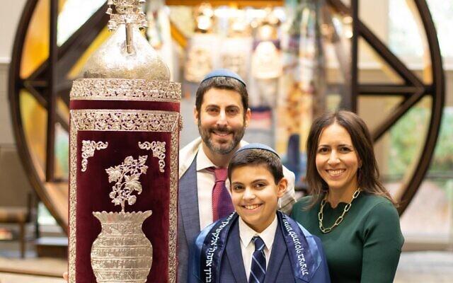 Flome family preparing for Noah's bar mitzvah last month at B'nai Torah.