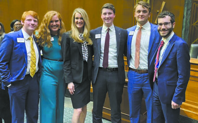 Lobbying Sen. Kelly Loeffler, third from left, are Alex Huskey, Savannah Simpson, Will Vermeulen and Alex Blecker.