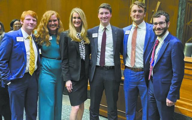 Lobbying Sen. Kelly Loeffler, third from left, are Alex Huskey, Savannah Simpson, Will Vermeulen and Alex Blecker.