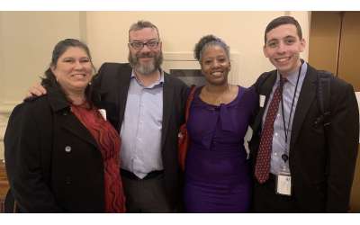 Leslie Anderson, Rabbi Michael Bernstein, Tarece Johnson and Noah Roos at the interfaith lobby day.