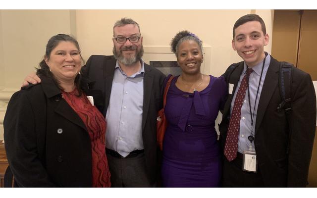 Leslie Anderson, Rabbi Michael Bernstein, Tarece Johnson and Noah Roos at the interfaith lobby day.