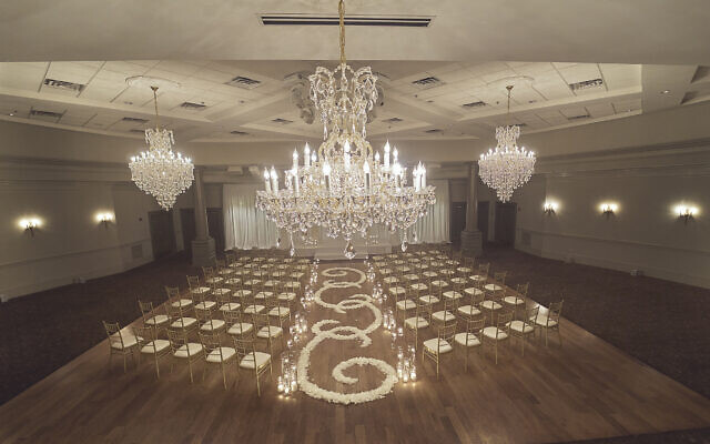 """An example of a Jewish wedding that used Spring Hall's """"grand decor"""" package."""