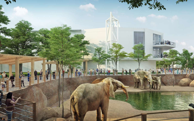 The new Savanna Hall special events building adjoins a new African Savanna animal habitat.