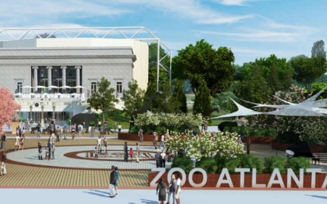 The new kosher special events facility is the focus of a new entrance plaza for Zoo Atlanta.