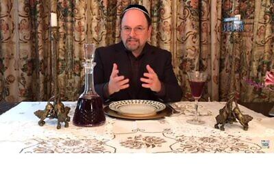 Saturday Night Passover Seder feat. Dan Levy, Finn Wolfhard, Billy Porter, Idina Menzel & More. YouTube screenshot.