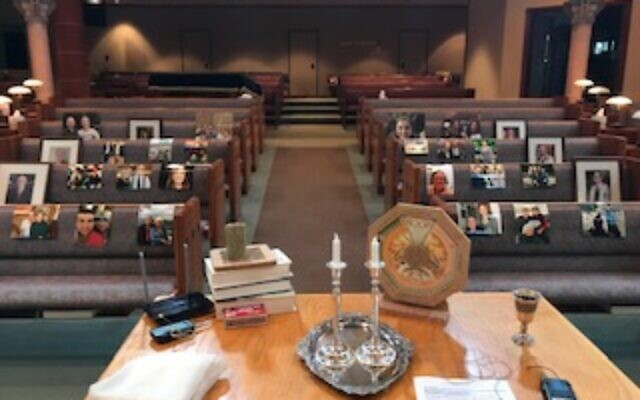 The sanctuary at Temple Beth Tikvah may be empty, but this is what Rabbi Alexandria Shuval-Weiner and Cantor Nancy Kassell see from the bimah as they conduct Shabbat services.