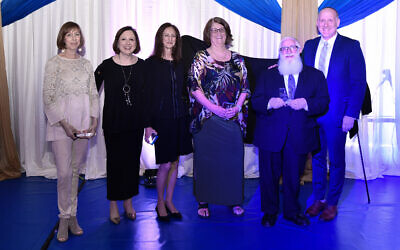The event honored for 30 years of service: Robyn Cooper, Lisa Marks, Vicki Fink, Penny Eisenstein, and Rabbi Daniel Estreicher. awards were presented by Ari Leubitz, head of school.