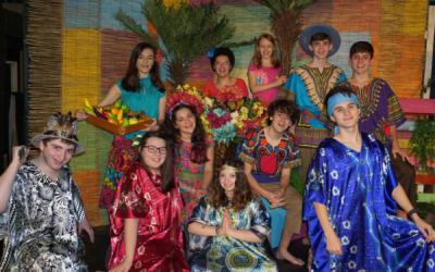 "The cast of ""Once on This Island"" include front row: Jordan Liban, Liana Bernstein, Miriam Burmenko and Jake Friedman; middle row: Amelia Heller and Sammy Lebowitz; and back row:  Eliana Glusman, Cece Robinson, Kayla Furie, Jordan Joel and Dov Karlin."