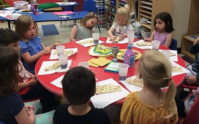 The 3-year-olds of the Llama Classroom put on a mock seder.