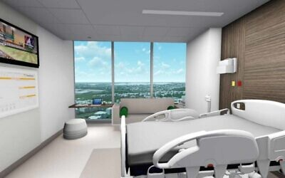 Renderings from the inside of the new Marcus Tower, including a patient room, lobby, surgical pavilion, donor wall and visitors sunroom.
