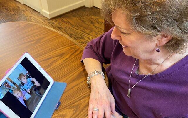 Donna Salus enjoys daily FaceTime visit with grandchildren.
